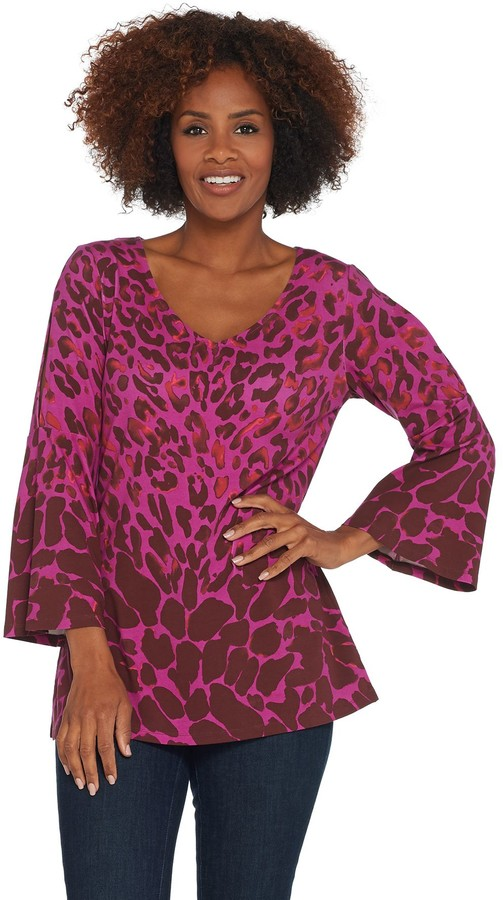 Isaac Mizrahi Live! Leopard Printed Tunic with Sleeve Detail