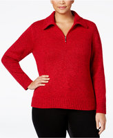 Karen Scott Plus Size Marled Quarter-Zip Sweater, Only at Macy's