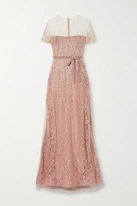 Reem Acra Velvet-trimmed Embellished Tulle Gown - Blush