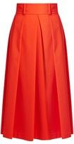 Tibi High-waist stretch-poplin A-line skirt