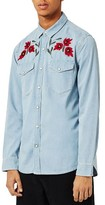 Topman Men's Embroidered Western Shirt