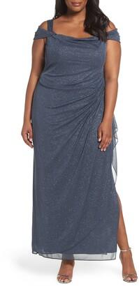 Alex Evenings Cold Shoulder Glitter Column Gown