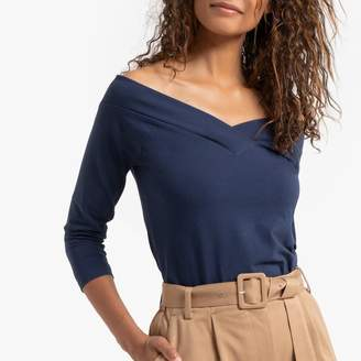 Esprit Stretch Cotton T-Shirt with 3/4 Length Sleeves