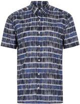 Topman Blue Batik Stripe Short Sleeve Shirt
