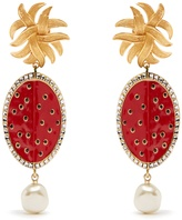 Dolce & Gabbana Watermelon and faux-pearl clip-on earrings