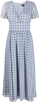 Emporio Armani Check-Print Chiffon Dress