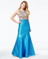 Juniors' Beaded Illusion Mermaid Gown, A Macy's Exclusive Style