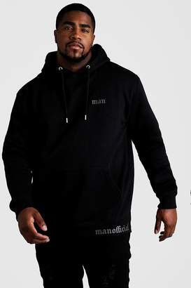 BoohoomanBoohooMAN Mens Black Big & Tall MAN Official Split Hem Hoodie, Black