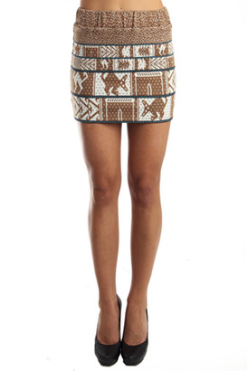 Suno Animal Jacquard Skirt