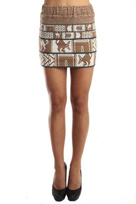 Suno Animal Jacquard Skirt