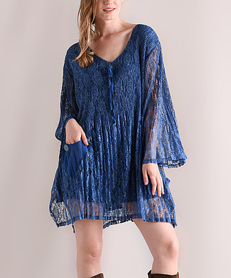 Pretty Angel Women's Tunics BLUE - Blue Ruffle-Sleeve Floral Lace Pocket Shift Dress - Women
