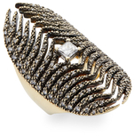 Mizuki Feather Medallion Diamond Ring