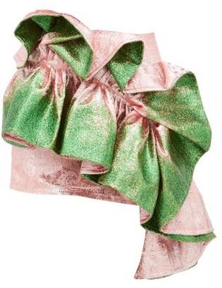 Germanier - Recycled Glitter-paint Ruffle Brocade Mini Skirt - Womens - Green Multi