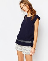 Suncoo Shortsleeve Button Back Blouse in Blue