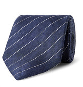 Dunhill 7.5cm Striped Linen And Mulberry Silk-Blend Tie