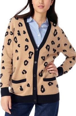 J.Crew Leopard Print Cashmere Boyfriend Cardigan