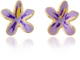 A-Z Collection Garden Line - Purple Enamel Flower Earrings