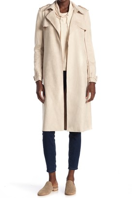Philosophy di Lorenzo Serafini Belted Faux Suede Trench Coat