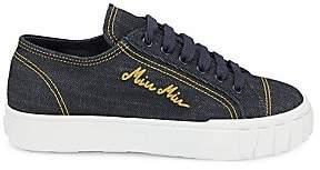 Miu Miu Women's Platform Denim Sneakers