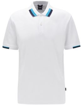 BOSS Regular-fit polo shirt with colour-blocking