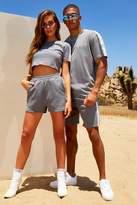 BoohoomanBoohooMAN Mens Grey His Loose Fit Side Tape T-Shirt & Short Set, Grey