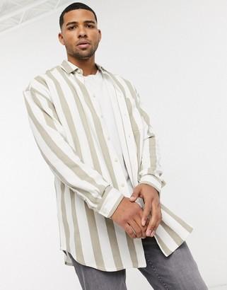 Asos DESIGN 90s oversized shirt in twill ecru stripe