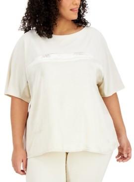 Alfani Plus Size Metallic Dolman-Sleeve Top, Created for Macy's