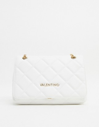 Mario Valentino Valentino By Valentino by Ocarina large quilted cross body bag with chain strap in white