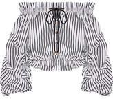 Caroline Constas Lorena Off-the-shoulder Striped Cotton-poplin Top