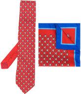 Etro penguin print tie and pocket square set