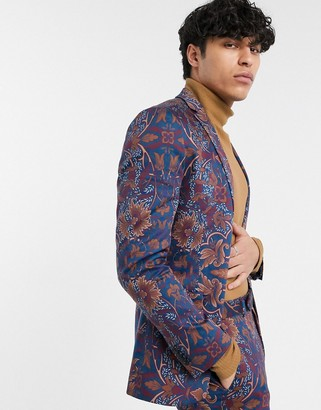 Topman skinny suit jacket in blue floral print