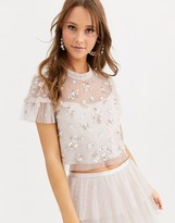 Needle & Thread embellished shimmer crop top in pearl rose
