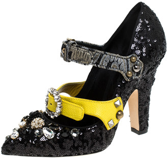 Dolce & Gabbana Black Mixed Media Crystal Embellished Mary Jane Pumps Size 38