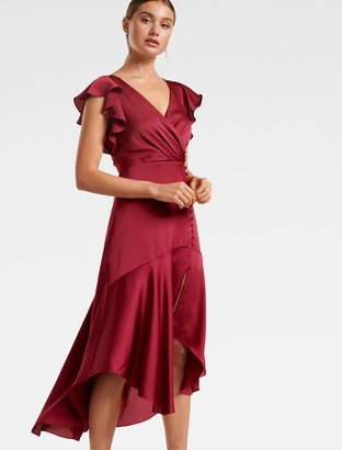 Forever New Carina Petite Satin Dress - Summer Berry - 12