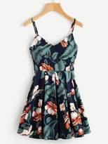 Leaf Floral Print Random Box Pleat Cami Dress