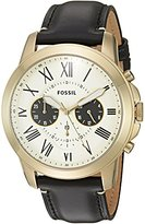 Fossil Men's Quartz Stainless Steel and Leather Casual Watch, Color:Black (Model: FS5272)