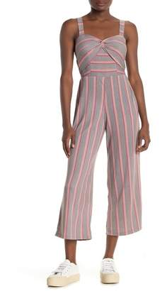 Planet Gold Striped Knotted Front Sleeveless Jumpsuit
