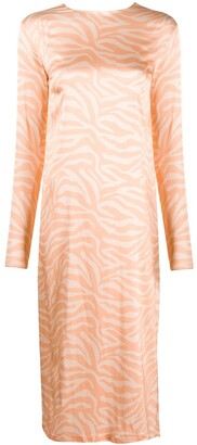 Andamane Long-Sleeved Animal-Print Dress