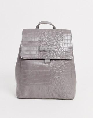 Claudia Canova gray croc flap over backpack