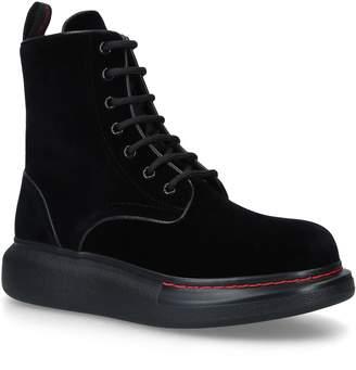Alexander McQueen Velvet Combat Boots