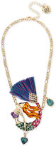 Betsey Johnson Gold-Tone Multi-Stone Mermaid Pendant Necklace