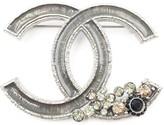 Chanel Silver-Tone Metal & Crystal Brooch