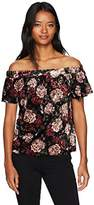 Amy Byer A. Byer Printed Velvet Off The Shoulder Top (Junior's)