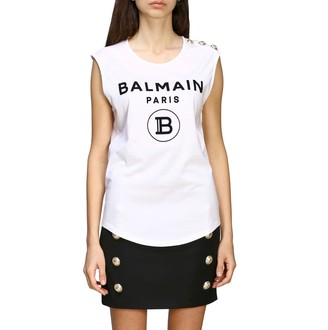Balmain Tank Top With Jewel Buttons On The Shoulder
