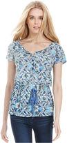 Calvin Klein Jeans Top, Short-Sleeve Printed Peplum