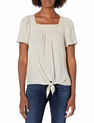 Amy Byer Women's Tie Front Square Neck Top