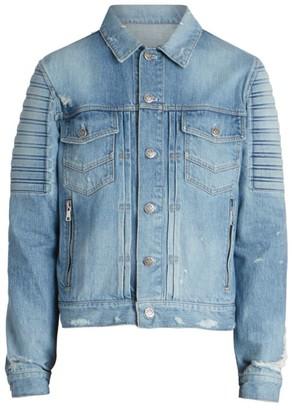Balmain Embossed Distressed Moto Denim Jacket