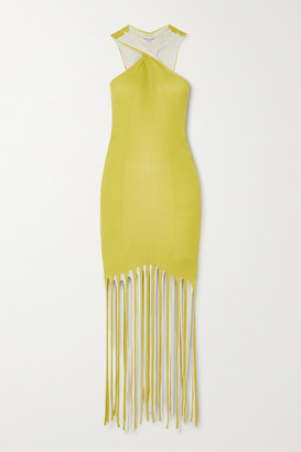 Bottega Veneta Fringed Ribbed Cotton And Silk-blend Halterneck Dress - Yellow