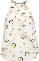 A.L.C. Iggy layered printed silk-crepe top