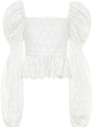 Caroline Constas Wren embroidered cotton top